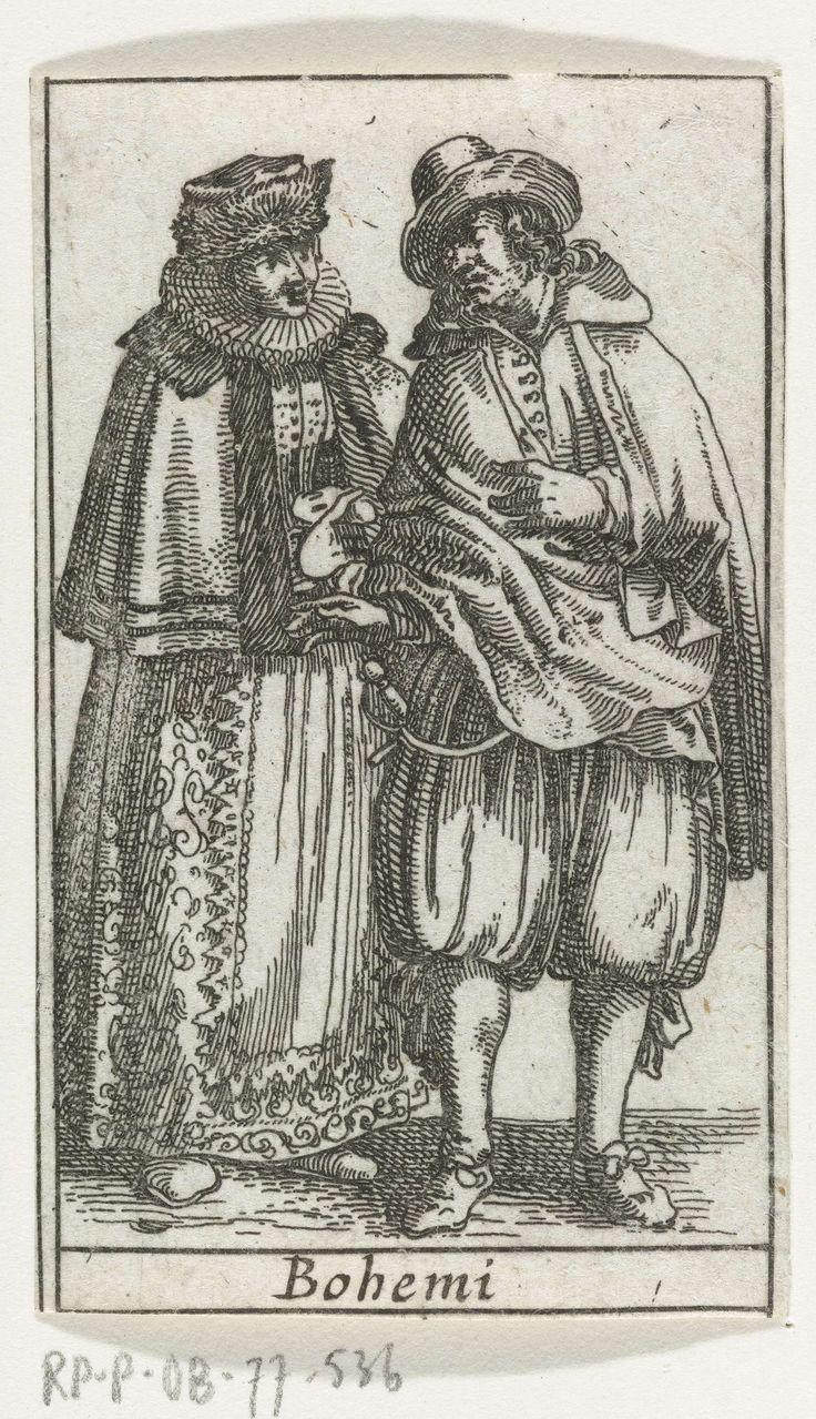 Anonymous | Bohemi: man en vrouw, gekleed volgens de Boheemse mode van ca. 1610-'20, Anonymous, 1617 | Man en vrouw, staand, van voren gezien, gekleed volgens de Boheemse mode van ca. 1610-'20. Geknipt van kaart Europa, Blaeu exc.