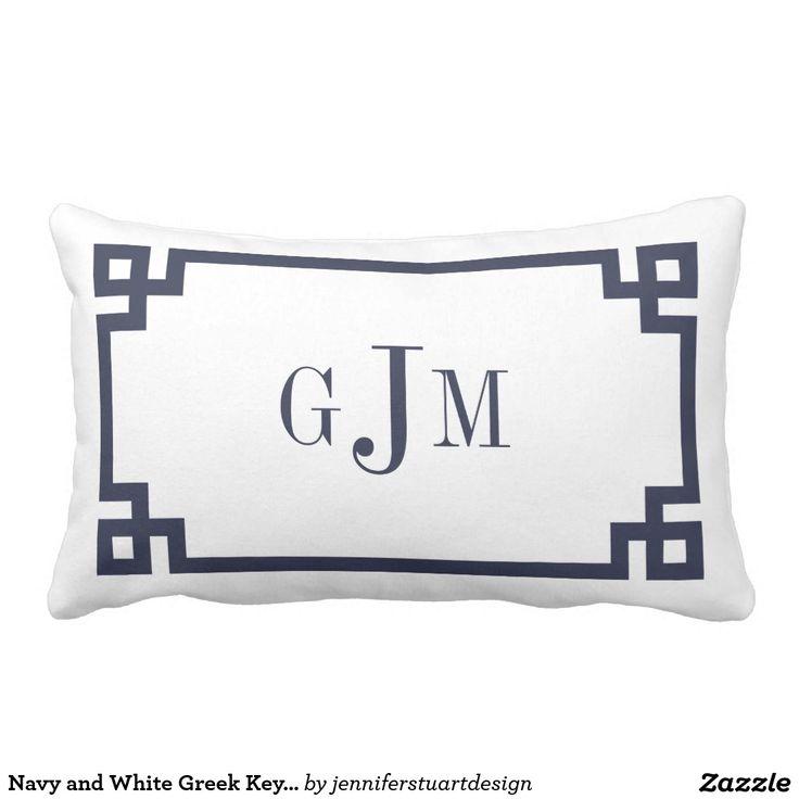 Navy and White Greek Key Monogram Throw Pillow