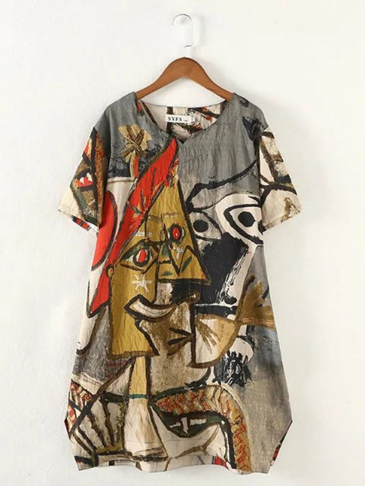 H-line Printed Casual Short Sleeve Abstract Mini Dress