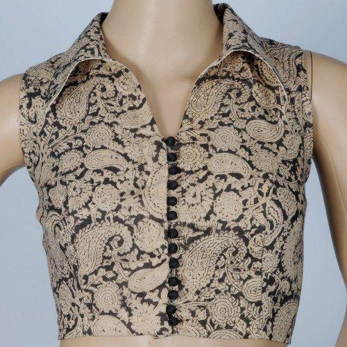 Kalamkari cotton blouse with Smart collar cl06np. Muhenera presents designer blouses