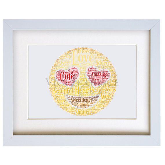 Personalised Love Heart Emoji Face Framed Word by VioletGraceUK