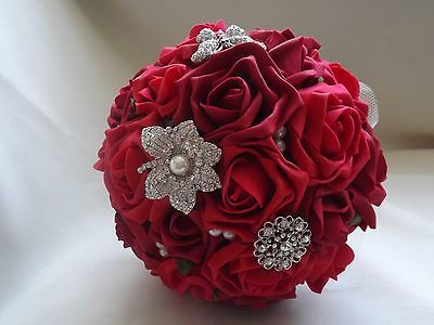 Red roses broach bouquet eBay