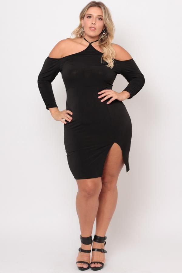 b9ff5728a Discover ideas about Trendy Plus Size Clothing. April 2019. Plus Size Cold  Shoulder Halter Dress - Black