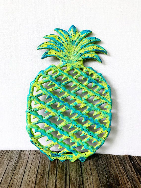 Modern Pineapple Kitchen Trivet / Lime Teal Turquoise Home