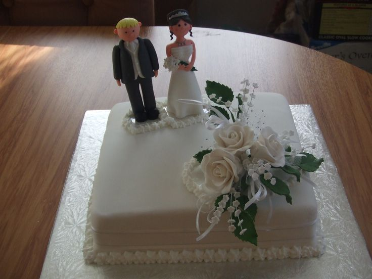 This One Tier Plain Traditional Square Wedding Cake Was Done For A Small With