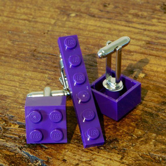 Modern Men's Purple Cufflink and Tie Clip Lego cufflink set