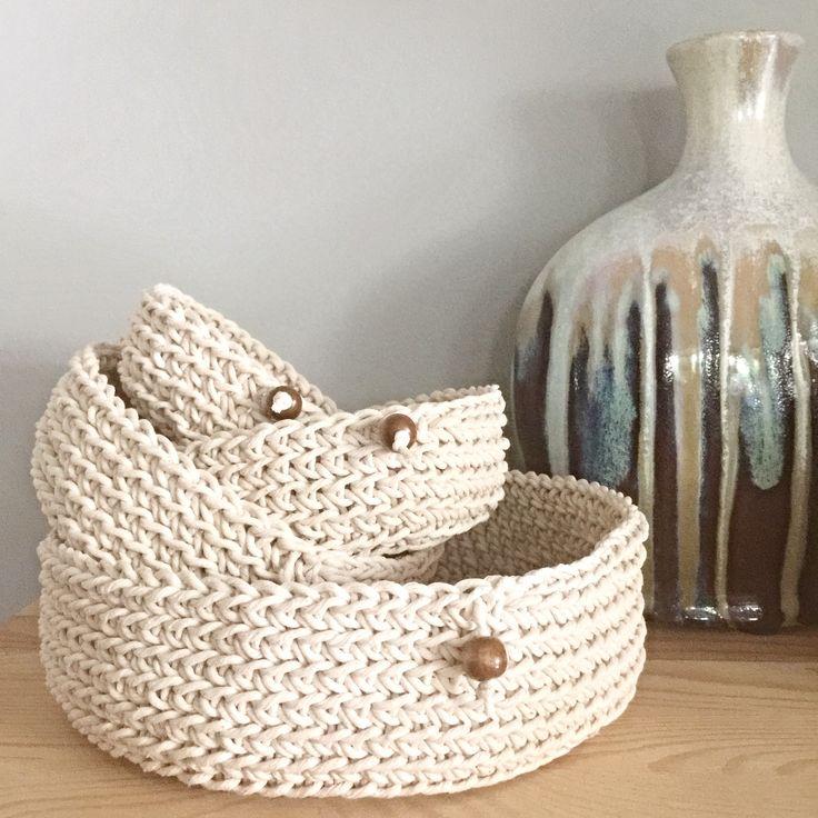 Cotton crochet baskets in quite a few sizes!