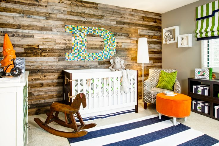 Eclectic Wood-Paneled #Nursery for a #BabyBoy: Pallets Wall, Boys Nurseries, Boys Rooms, Baby Boys, Wooden Wall, Baby Rooms, Wood Wall, Accent Wall, Kids Rooms