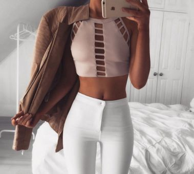 Beige Gloria Cut-Out Crop Top - Apply code DREAM10 for 10% off! http://ss1.us/a/LKG1xHpR