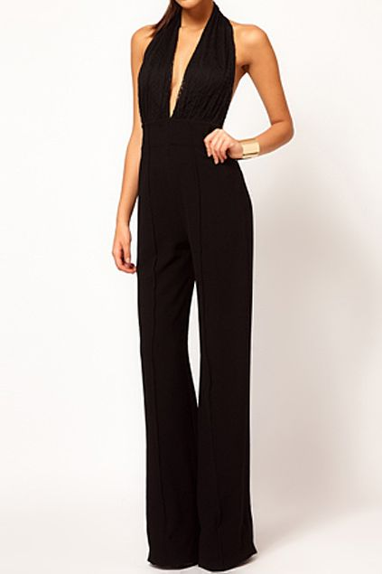 abaday | abaday Lace Backless Black Jumpsuit, The Latest Street Fashion
