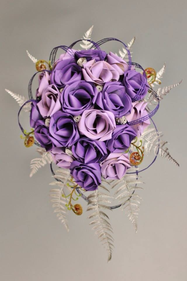 Teardrop bouquet in purple & lavender with silver buds and fern with koru.  www.flaxation.co.nz