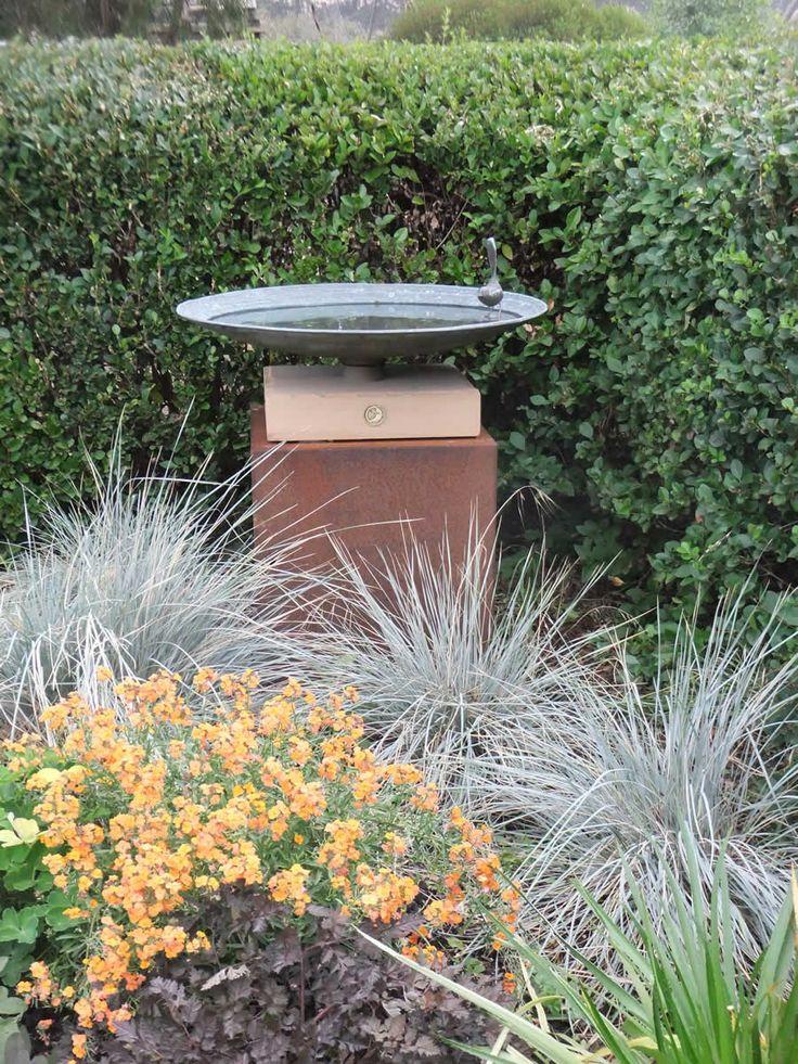 Large Bronze Dish Birdbath Diameter) With A Single Wren On A Stone And  Corten Steel Plinth