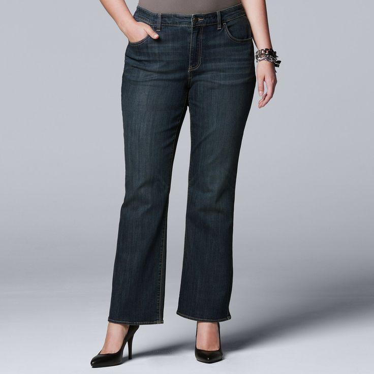 Plus Size Simply Vera Vera Wang Bootcut Jeans, Women's, Size: 18W Short, Med Blue