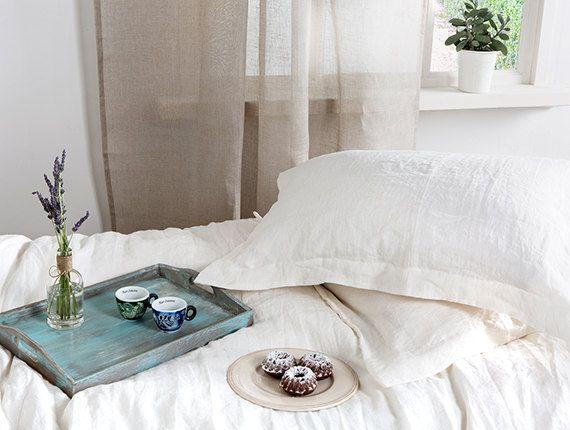Oxford linen pillowcases-White Stonewashed pillowcases-Set of two-White Linen bedding-Stonewashed pillow shams-Elegant linen pillowcases by LinenHomeDecor on Etsy