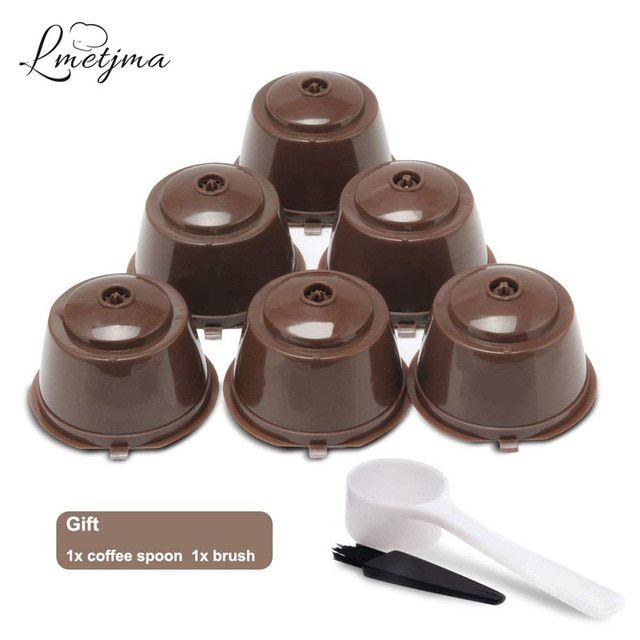 Lmetjma 6pcs Set Reusable Nespresso Capsules Refillable Nespresso
