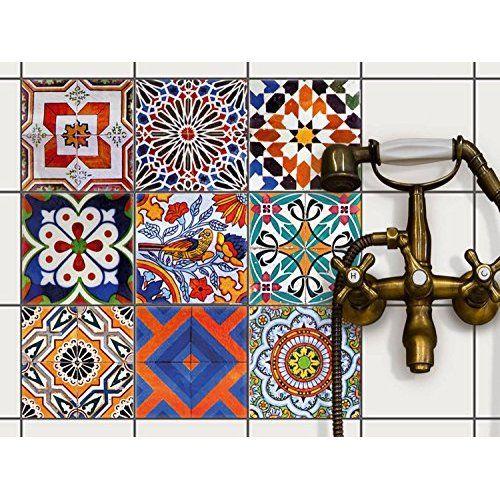 Carrelage Autocollant Sticker | Adhésif carrelage - salle de bain et credence cuisine - Décoration autocollante | Stickers carrelage - Design Black n White - 10x10 cm - 9 pièces