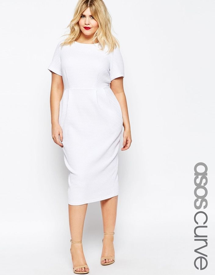 ASOS CURVE Midi Wiggle Dress in Texture (Plus Size)