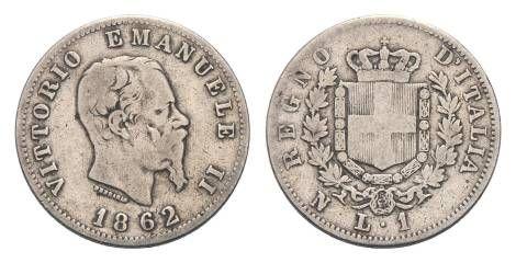 Lira Italiana, Vittorio Emanuele II, 24 agosto 1862 #numismatics #italian #lira #vittorioemanuele