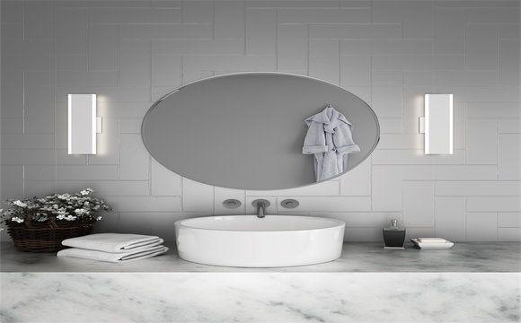 Le Miroir Ovale S Harmonise Bien Avec Un Applique Mural De Chaque Cote Celle Ci Ne Doit Pas Depasser La Hauteur De Miroir Miroir Parement Mural Miroir Ovale