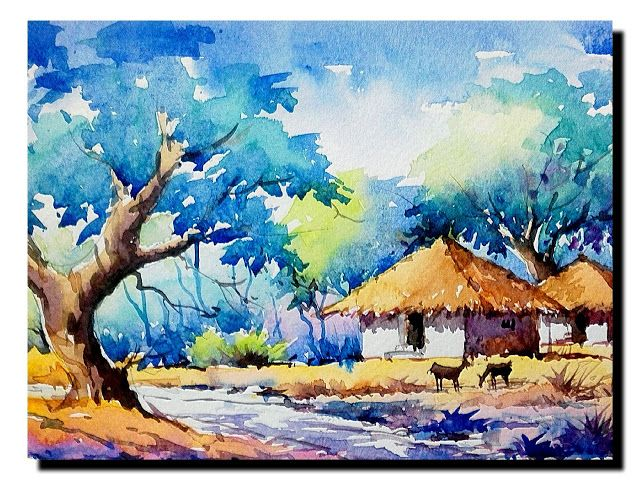 Indian Watercolour Landscapes Watercolor Landscape Paintings Watercolor Art Landscape Nature Drawing