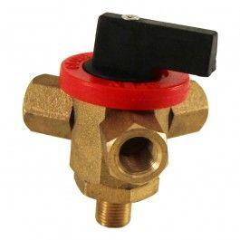 """Válvula de tres vías que permite dar la orden de apertura o cierre de la válvula manualmente. Disponible con conexión macho BSP de 1/4"""" o 1/8"""""""