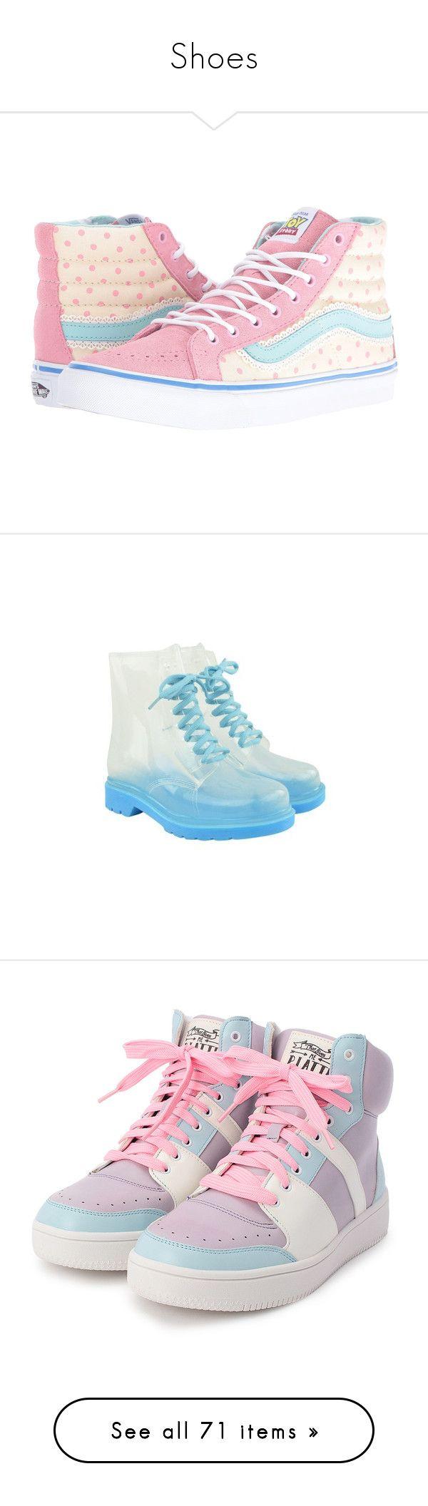 """""""Shoes"""" by pastelprincess152 ❤ liked on Polyvore featuring shoes, sneakers, vans, footwear, обувь, skate shoes, white hi tops, high top trainers, vans shoes and white high tops"""