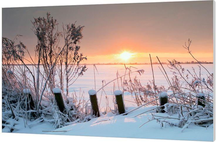 Winter Lake. Deze sfeervolle zonsopkomst over het dichtgevroren Tjeukemeer in Friesland met fraaie kleuren geeft de vroege ochtend na wederom een ijskoude nacht prachtig weer. Luxe wanddecoratie van Wallstars.