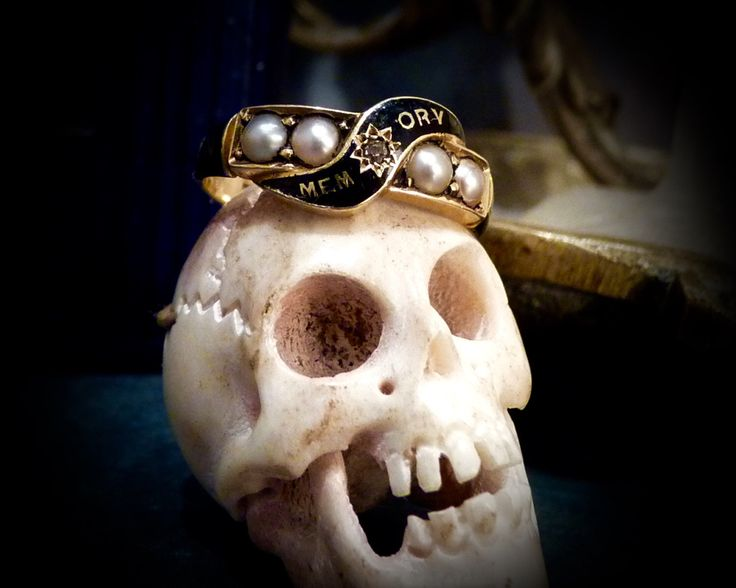 18 carat gold Victorian mourning ring diamond enamel and pearls engraved date macabre memento mori English estate ring 1800s by BoxOfLostSouls on Etsy https://www.etsy.com/listing/257439420/18-carat-gold-victorian-mourning-ring
