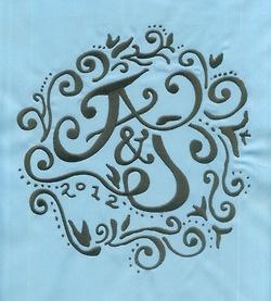 Wedding Logo monogrammed on a tablecloth.