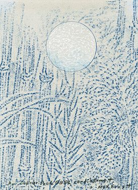 """Max Ernst, ohne Titel, noch nicht bei Spies Max Ernst (Brühl 1891 - 1976 Paris) ohne Titel (""""Végétaux sous la lune"""") Frottage und Farbkreide auf grauem Papier ca. 1966"""