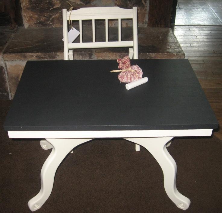 Chalk board table the kids loved it! Chalkboard table