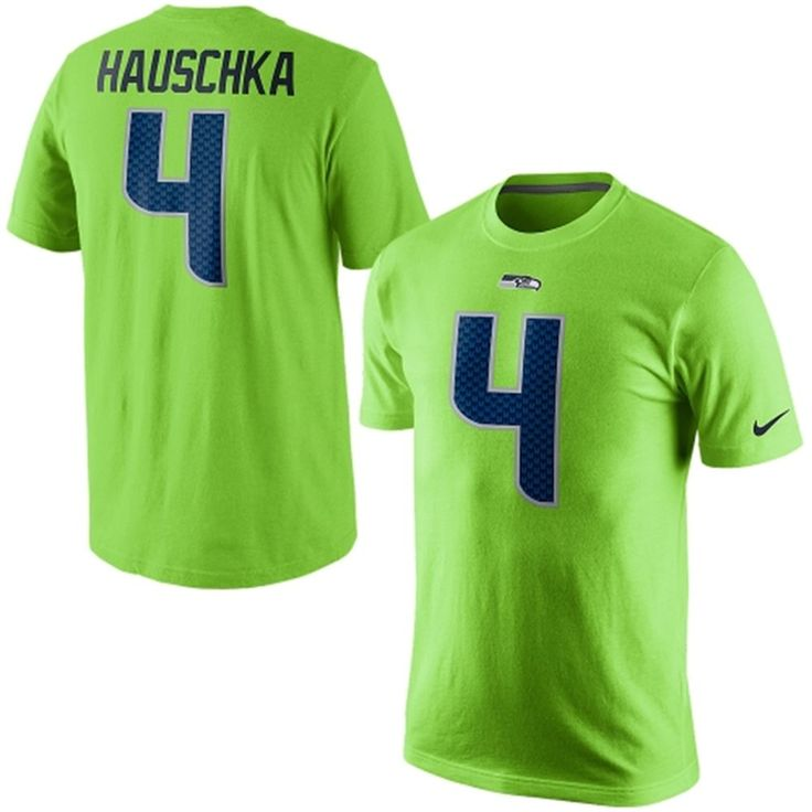 ec9134880c3 ... Mens Seattle Seahawks Steven Hauschka Nike Neon Green Player Name  Number T-Shirt ...