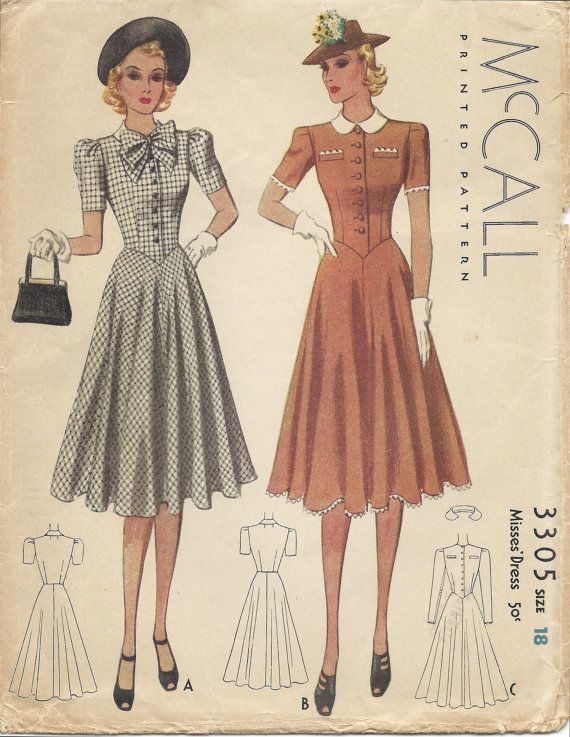1930s McCall 3305 dress sewing pattern 1939 | Sewing ...