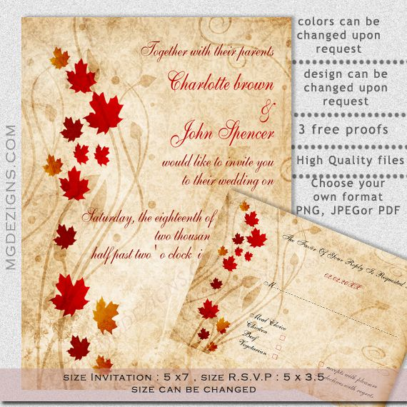 Rustic Maple Leaves Fall Wedding Invitation And Rsvp Template At