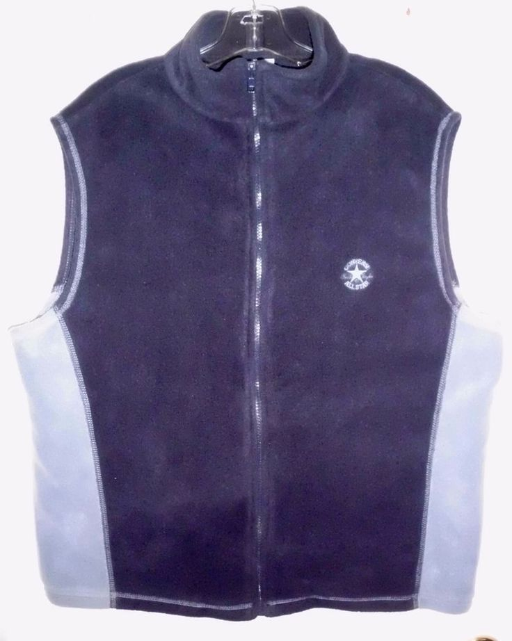"CONVERSE All Star Chuck Taylor 2-Tone Blue Fleece Zip Front Vest 48"" Chest Men's #Converse #ZipFront"