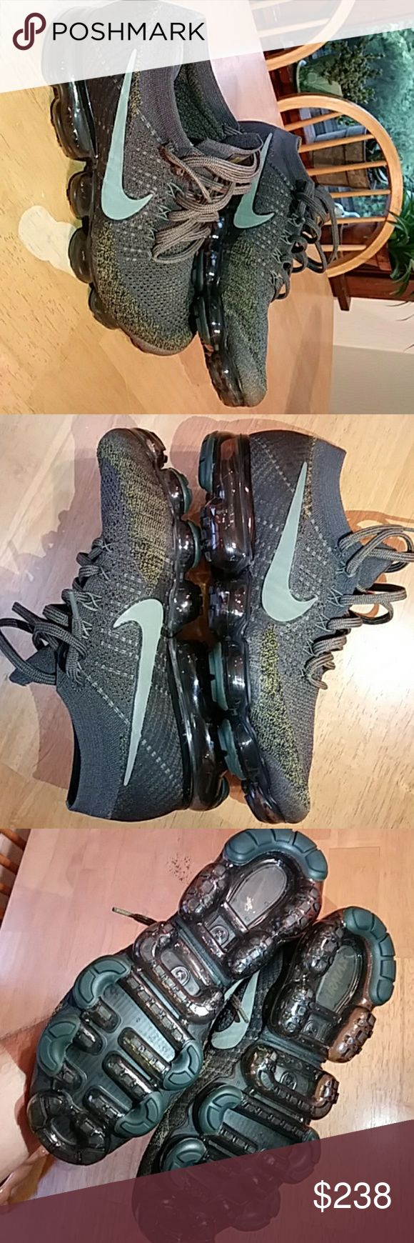 BRAND NEW NIKE✔AIR VaporMAX™Cargo Khaki M🎁10.5 BRAND NEW, UNWORN, DEADSTOCK in original box 📦. GREAT 🎅XMAS🎄 GIFT FOR BOO❤🎁Army green/desert brown/khaki tan flyknit upper. Sweet Reflective 3M green/silver tinted✅swoosh✔. Stock, solid army green laces. Extra khaki/army green laces included (1 of each in the shoes pictured). I love them but they are just a tad too snug. I had to cop because you can't find this colorway anywhere! Go ahead and try 😉. Accepting best offer, will consider…