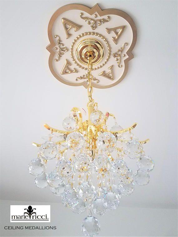 Monogram Ceiling Medallion Monogrammed Initial Monogrammed $164.99 #ceilingmedallion #lighting #monogramhomedecor