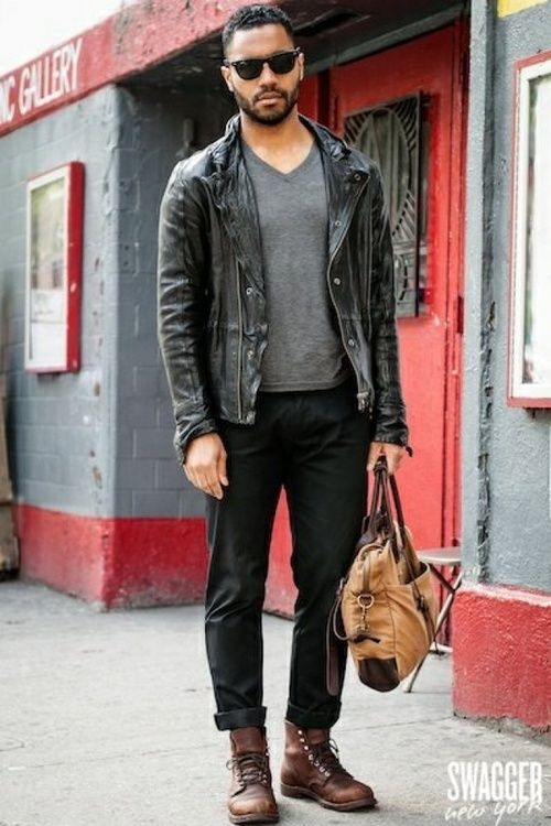Leather Jacket + Gray T shirt + Black Jeans + Brown Boots + Tote Bag