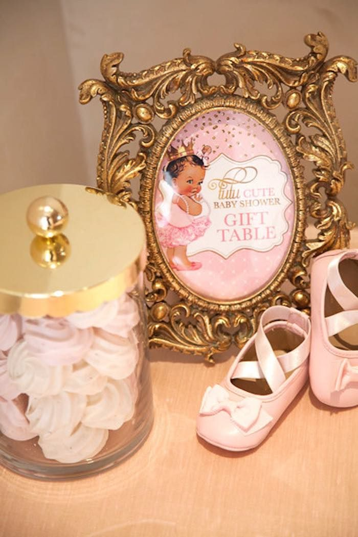 Gift table signage + decor from a Pink Tutu Cute Themed Ballerina Baby Shower via Kara's Party Ideas | KarasPartyIdeas.com - The Place for All Things Party! (4)