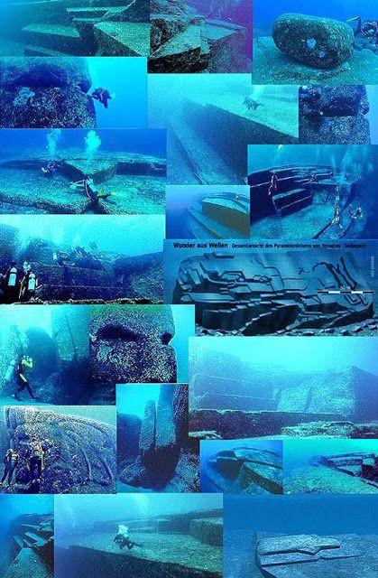 pirámides sumergidas en Yonagui (Japon) Cuando hicieron la datación de carbono del coral que se formó bajo las pirámides desde el momento de hundirse les dio que las pirámides se sumergieron hace aproximadamente 10.000 años.