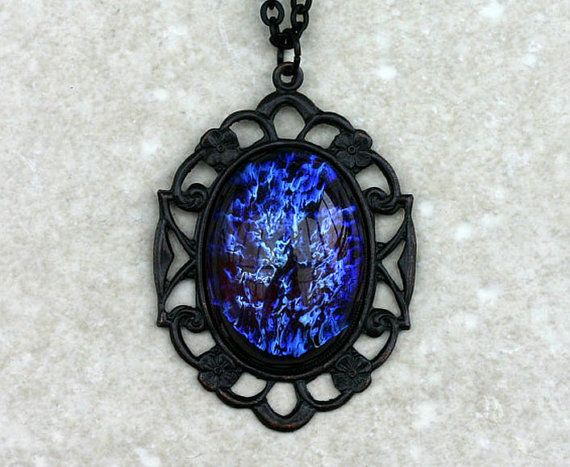 Dark Dragon Breath Opal Necklace by robinhoodcouture on Etsy