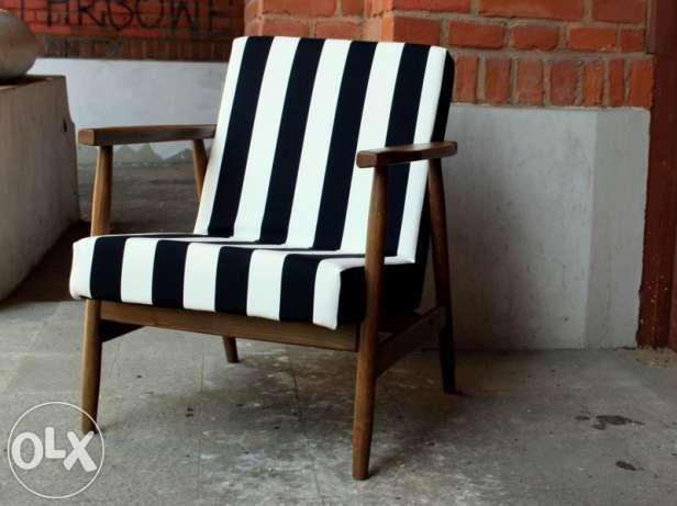 Fotel prl pasy czarno białe Łódź - image 1