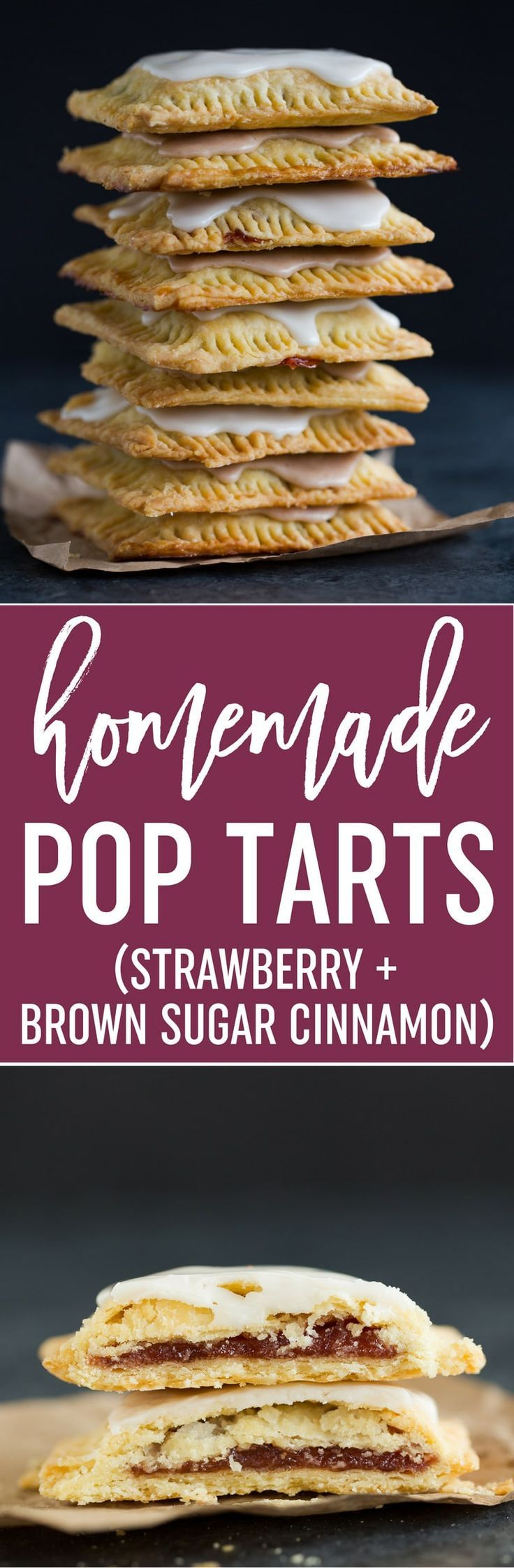 Homemade Pop Tarts - A super easy homemade pastry crust with strawberry and brown sugar cinnamon fillings. And they're frosted, of course! Make it your next weekend baking project! via @browneyedbaker