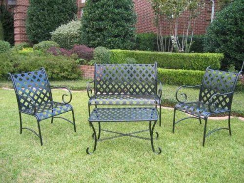 Awesome SLEIGH 4 PIECE IRON LOVESEAT SET   LOVESEAT, COFFEE TABLE And 2 CHAIRS    PATIO