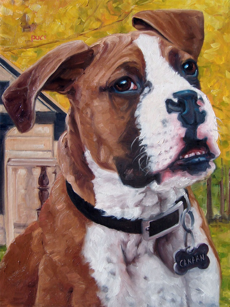 Boxer Love custom Pet Portrait Oil Painting by by puciPetPortraits