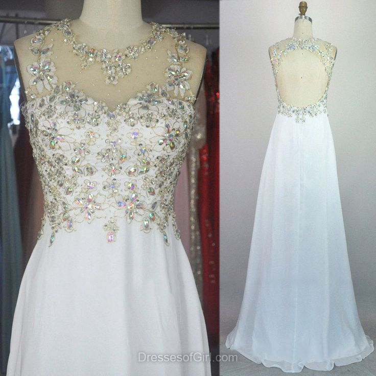 Chiffon Prom Dresses, Long Prom Dress, White Evening Gowns, Backless Party Dresses, Beaded Formal Dresses