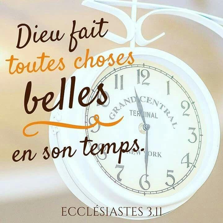 Ecclésiastes 3: 11 Le temps de Dieu est merveilleux soyons patients à ses promesses