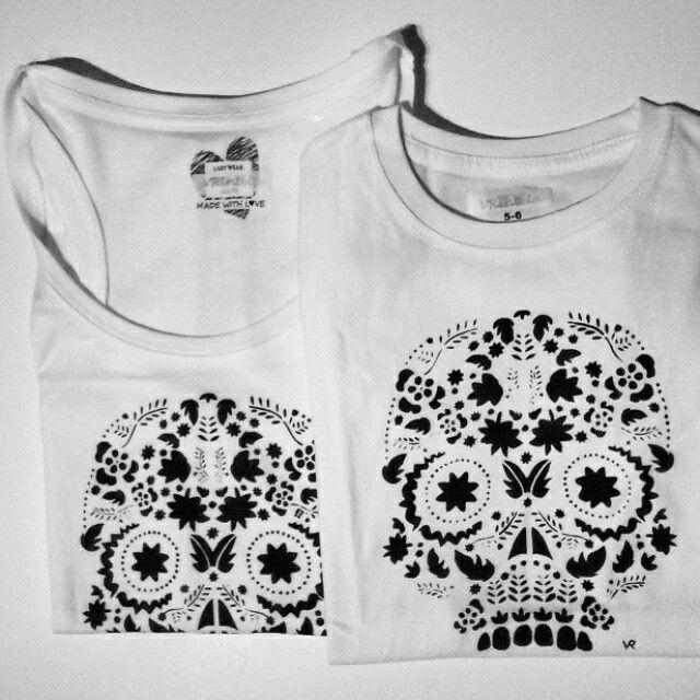 Camisetas calavera pintadas a mano para toda la familia!! haz tu pedido en vrintela.com