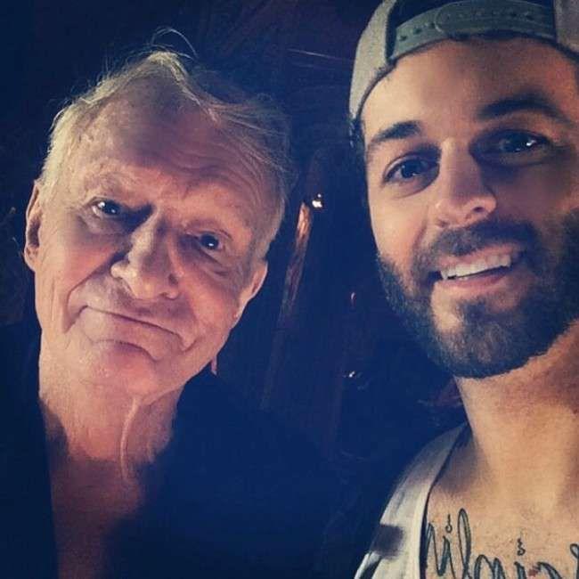 Curtis Lepore (Right) and Hugh Hefner in a selfie...