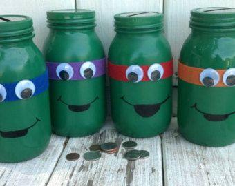 Teenage Mutant Ninja Turtles Mason Jar Bank